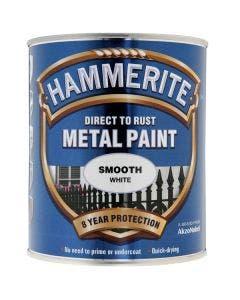 Hammerite Smooth Metal Paint White - 750ml
