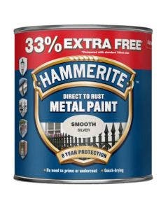 Hammerite Smooth Metal Paint Silver - 750ml + 33% Free